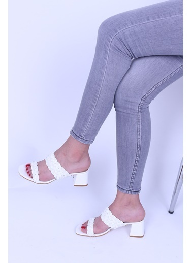 Derigo Ten Süet Kadın Topuklu Ayakkabı 39369 Beyaz